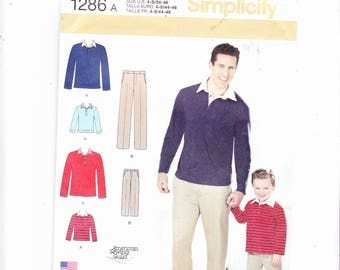 Simplicity 1286 Boys' and Mens' Classic Pants and Updated Fit and Knit Shirt UNCUT Boys' Sz's 4-8 Mens' Sz's 34-46