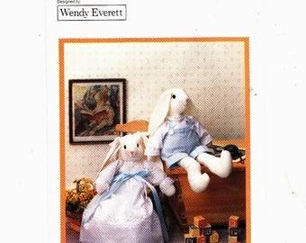 "Butterick 4682 Victorian Rabbits Pattern Rabbits Designed by Wendy Everett Aprox 20"" Uncut"