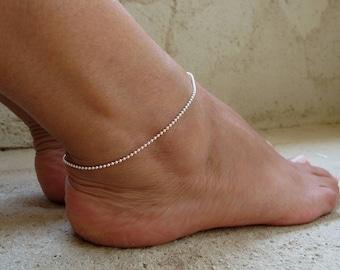 Sterling silver anklet, Delicate anklet bracelet, Ball chain ankle bracelet