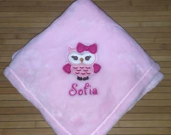 Personalized 30x40 Micro Fleece Baby Blanket Girl Owl Bow
