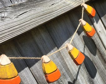 Candy corn garland for fall mantel