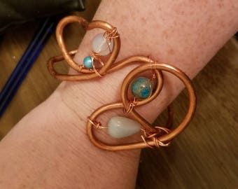 Blue Abstract Butterfly copper cuff bracelet