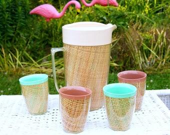 Raffiaware Tumblers, Raffiaware Pitcher, Vintage Beverage Set, Drinking Glasses, Plastic Cups, Insulated Tumblers