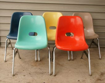 Vintage Krueger Chairs, Fiberglass Shell Chairs, Kids Youth Chairs, Mid Century Decor