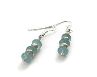 Amazonite stone earrings, amazonite jewelry, blue stone earrings, blue earrings, stone earrings