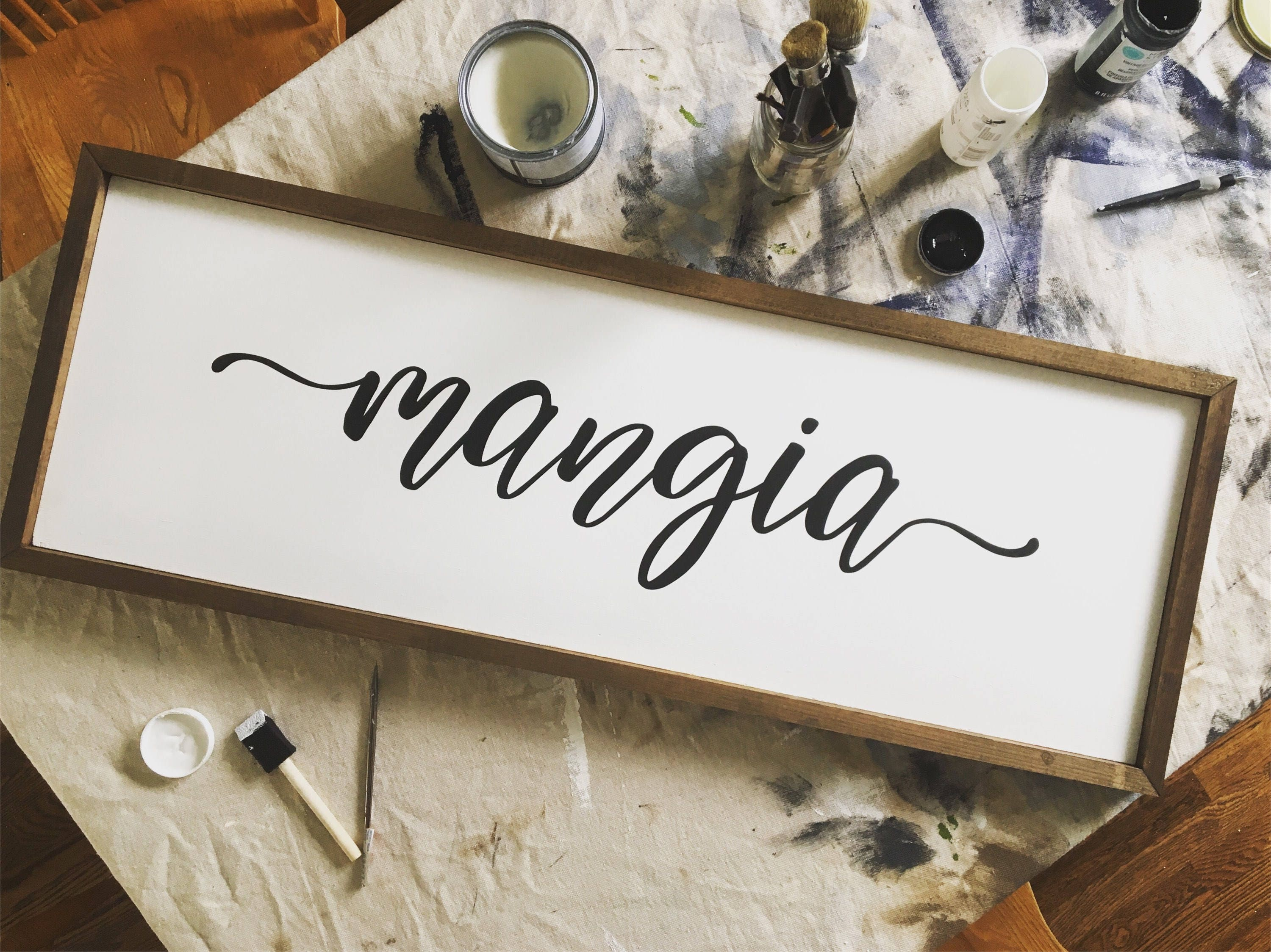 Mangia Rustic Wooden Sign...