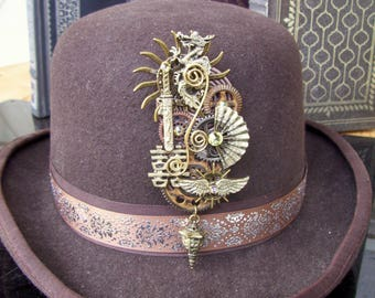 Steampunk Oriental Hat Pin or Brooch (P735) Asian Inspired, Brass Elements, Gears and Crystals, Tie Tack Pins