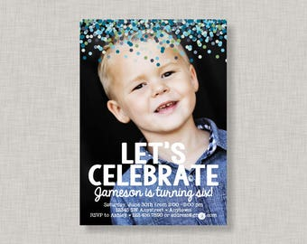 Confetti Birthday Invitation, Confetti Invitation, Photo Birthday Invitation