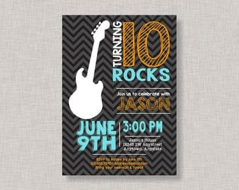 Rock Star Invitation, Rockstar Invitation, Guitar Invitation, Rock Star Birthday