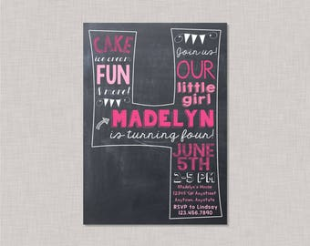 Fourth Birthday Invitation, 4th Birthday Invitation, Girl 4th Birthday Invitation, Girl Birthday Invitation, Chalkboard Invitation, Pink