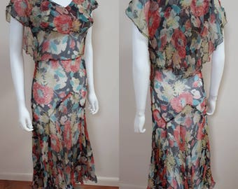 Vintage Early 1930s Poppy Garden Chiffon Bias 30s 20s Summer Dress
