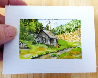 Original Miniature Painting in Watercolor - 2x3 inches