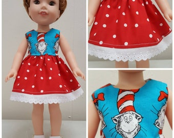 Cat in the Hat Dress for Wellie Wisher Doll