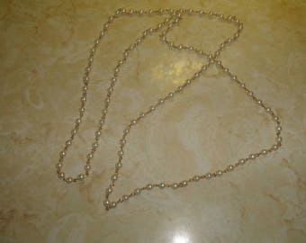 vintage necklace long goldtone chain faux pearls