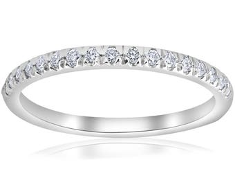 1/4ct French Pave Diamond Wedding Ring Stackable Anniversary Band 14k White Gold