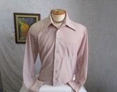 60s XL Cortini Poly Nylon Big Collar Men's Shirt Burgundy Plaid Print