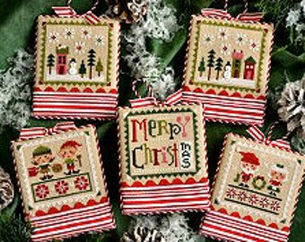 Free Gift w/Pre-order NEW Tiny Tidings XXII 22 cross stitch patterns OPTIONAL embellishments by Lizzie Kate Christmas ornaments