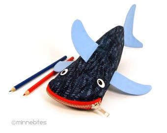 Shark Case - Pencil Case Zip Bag - Navy Nautical Planner Pouch - Office Gift - Desk Accessory Organize - Scuba Diver Gift - Personalized Bag