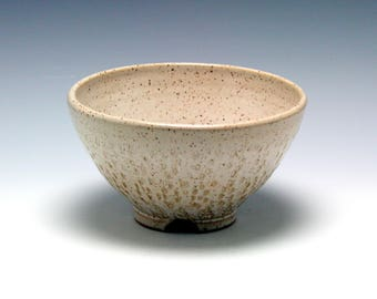 Small Rustic Ceramic Serving Bowl in shades of Creamy White and Brown/Ceramics and Pottery