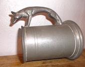 RESERVED for Jan Vintage Tankard Hunter's Fox Pewter Pub Mug Circa 1940s Breweriana Stein