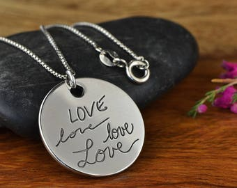 Real Handwriting Necklace, Custom Handwriting Necklace, Actual Handwriting Jewelry, Memorial Jewelry, Gift for Mom, Handwriting Engraving