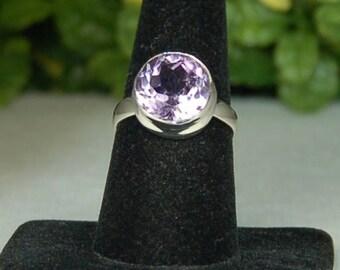 Amethyst Ring, Size 9, Lilac Purple, Sterling Silver, February Birthstone, Large Amethyst, Purple Amethyst, Amethyst Solitaire