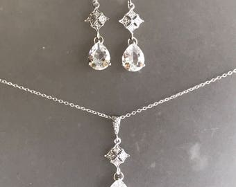 Drop Dangle Silver Pave Teardrop Victorian Earrings and Necklace Set Weddings Bridal Jewelry Bezel Clear Crystal