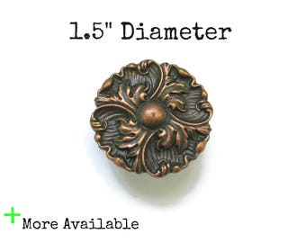"Vintage French Provincial Drawer Knobs - 1.5"" Diameter Pulls - Aged Copper - More Available"
