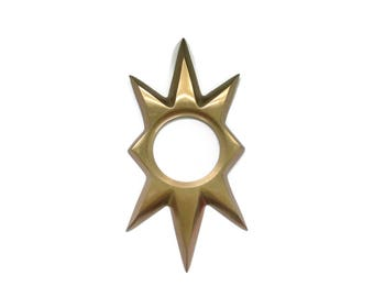 1 Vintage Pale Copper Starburst Door Knob Plate - Heavy MCM Atomic Star Back Plate or Escutcheon - Large size Copper/Bronze