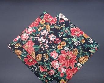 "Floral on Black, Holiday Cloth Napkins, Christmas Napkins, Holiday Napkins, Luncheon Napkins, 14"" Napkins - set of four"