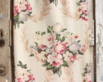 Pink English Cabbage Roses Lavender Tulips Floral Vintage 1930s Vintage Nubby Barkcloth Fabric Custom Pillow