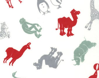 Urban Chiks Fabric, Hullabaloo by Urban Chiks for Moda Fabrics, 32403-17 Zoo Animals