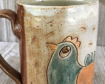 Mug with Chickens, Rooster and Hen