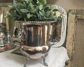 Vintage Four Ornate Feet Large Silver Plated Champagne Bucket Shabby Chic Lovely