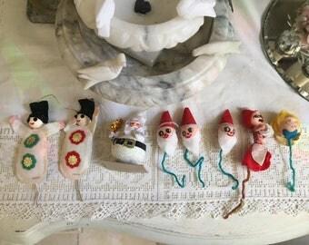 Vintage Christmas Pipe Cleaner Package Ties - Ornaments, Snowman, Santas, ect