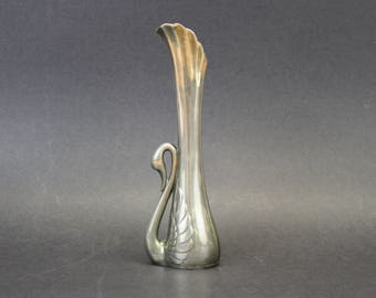 Vintage Silver Bud Vase with a Swan (E9264)