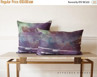 """ON SALE Ombre pillow. The valley of the fireflies / Poetic decorative pillowcase 14""""x 22"""" linen. Violet.. / FRAGMENTS"""