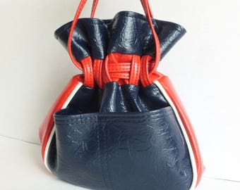 Red, White and Blue Vinyl Drawstring Bucket Purse Handbag with External Pockets
