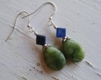 Jade lapis dangle earrings, jade teardrop, lapis and silver dangle earrings