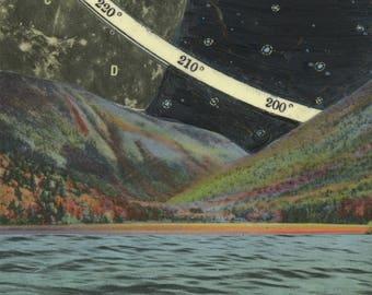 Illumination - archival print of mixed media painting, psychedelic full moon, night sky, hyper color , starry sky, supermoon, moon art