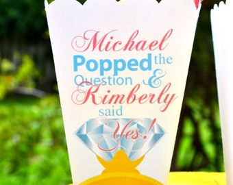 Popped the Question Popcorn Box Favors | Engagement Party Personalized Favors | Diamond Ring Favor | He Popped the Question