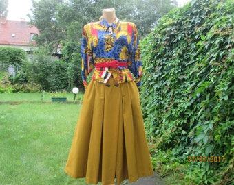 Full Skirt / Yellow Skirt / Skirt Mustard / Skirt Size EUR40 / 42 / UK12 / 14 / Skirt Pockets / Midi / Folk Skirt