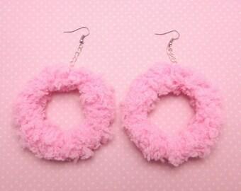 Soft fairy donut earrings (pink sugar)