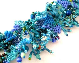 Blue beaded bracelet Women's bracelet, Blue jewelry, Handmade gifts, Women's jewelry, Gift for women, Summer fashion