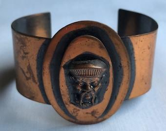 Vintage Wide Copper Cuff Bracelet With Oriental Figure Design