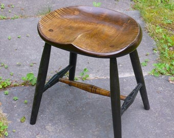 """Guitar Stool,  computer stool, office stool, computer chair, kitchen chair, dining table chair.- tiger maple, - dark vintage - 18"""""""