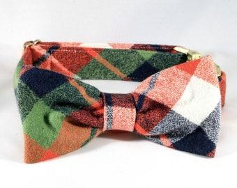 Fall Harvest Plaid Dog Bow Tie Collar