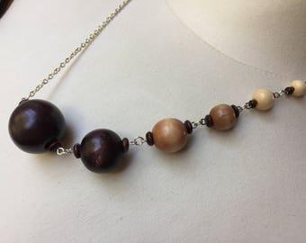 Gradient Wood Bead Necklace/Monochromatic/Ombre/Natural Beads/Asymmetrical/Unique/Silver/Statement/Light/Medium/Dark/Elegant