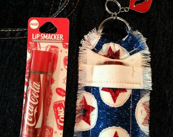 Lip Balm Holder Purse Clip, Chapstick Holder Keychain, Red White and Blue Stars, Girlie Fashion Accessory, Clip on Purse Bling, Key Ring
