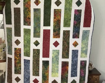 Batik quilted throw